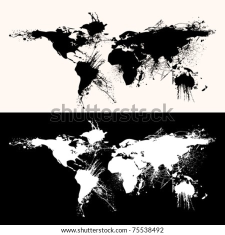 world map grunge - stock vector
