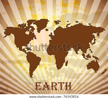 World map grungy - stock vector