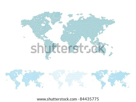 World map halftone set, four different versions with perfect shapes, vector illustration
