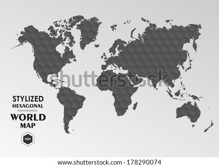 World map hexagonal abstract illustration - stock vector