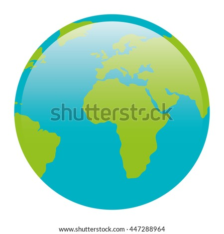 World map icon over white background, isolated icon vector illustration. - stock vector