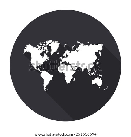 World map icon with long shadow - vector round button - stock vector