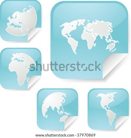 World map icons on square sticker stock vector 37970869 shutterstock world map icons on square sticker shapes gumiabroncs Images