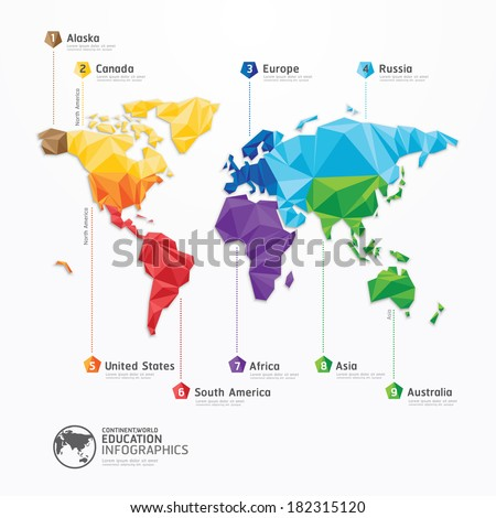 world map illustration infographics geometric concept design vector template. - stock vector
