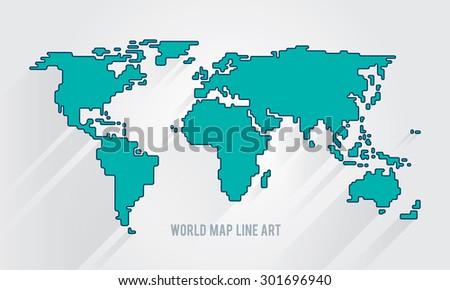 world map illustration line art - stock vector