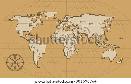 world map illustration line art
