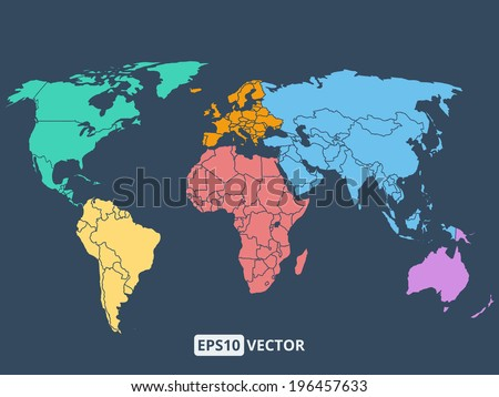 World map illustration, stock vector