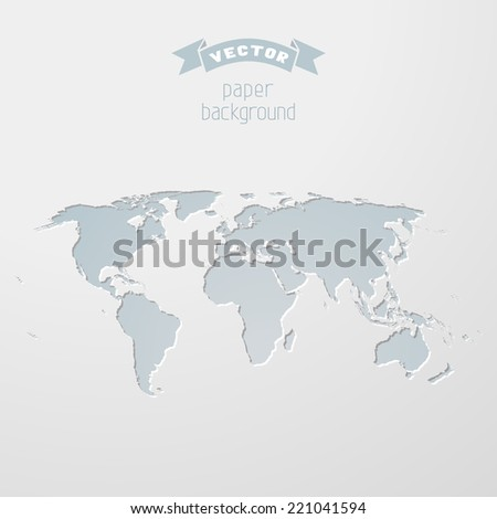 World map illustration. Vector paper background. - stock vector