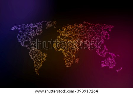 world map illustration with light lines - stock vector