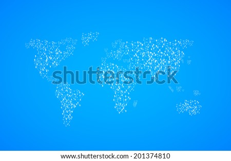 World Map Illustration with people, easy all editable - stock vector
