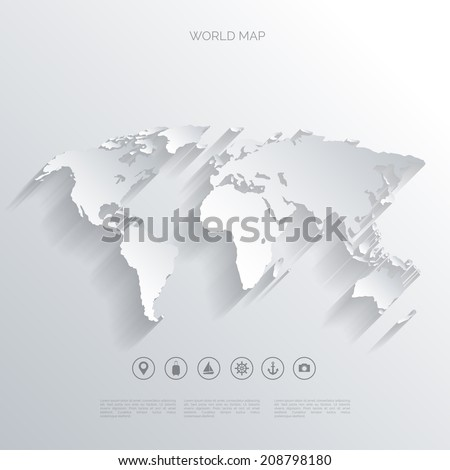 World map in a flat style.Earth,globe.Route planning.Map of Asia,Africa,North America,South America,Antarctica,Europe,Australia.Continents of the world on the map.World navigation system.GPS.  - stock vector