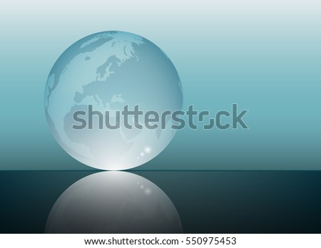 World map in a glass sphere crystal graphic vector