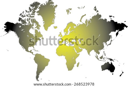 World map in an abstract background with illuminated light in the center, a conceptual design of world map with sun rays in the middle - stock vector
