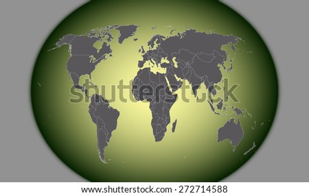 World map in an abstract 3d background, a conceptual three dimensional design of world map with strips and earth sphere for web-page template or construction - stock vector