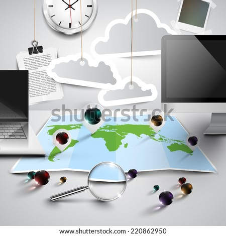 World map in 3D with office tools, cloudy, vector - stock vector