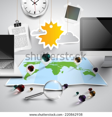 World map in 3D with office tools, sunny, vector - stock vector
