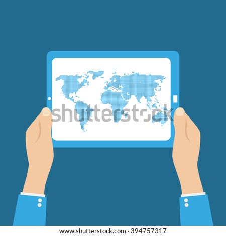 World map in dots. tablet in hands on dlue background