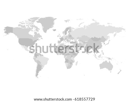 world map in four shades of grey on white background high detail blank political map