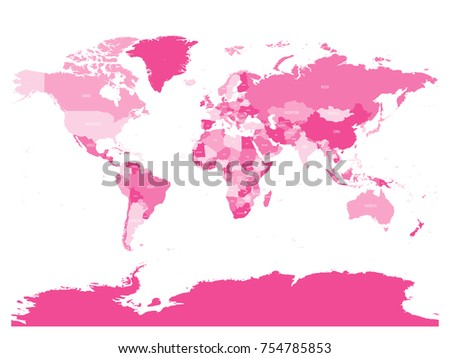 World Map Four Shades Pink On Stock Vector 754785853 Shutterstock