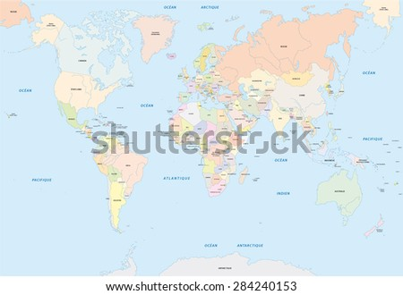 World map french language stock vector 284240153 shutterstock world map in french language gumiabroncs Choice Image