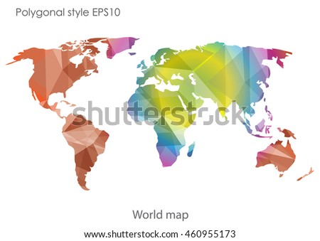 World map in geometric polygonal style.Abstract gems triangle,modern design background.Vector Illustration EPS10.