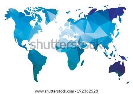 World map in geometric triangle pattern design, vector illustration - stock vector