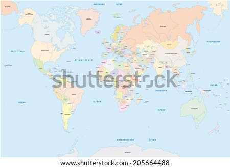 world map in german language - stock vector