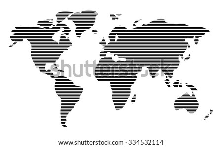 World map in horizontal stripes, bars - abstract vector background.  Black and white silhouette illustration