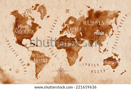 World map old style brown graphics stock photo photo vector world map in old style brown graphics in a retro style gumiabroncs Images