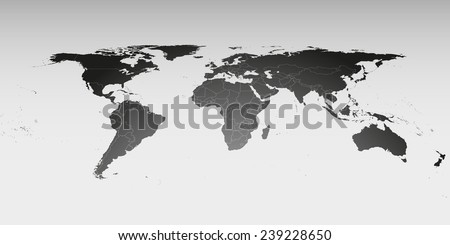 World map in perspective, vector template for business design. - stock vector