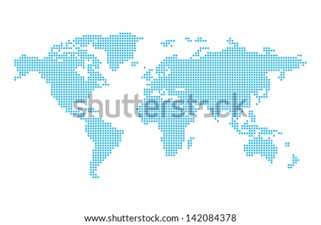 World map in pixels - stock vector