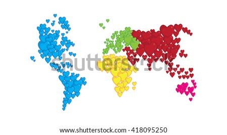 World map shapes heart concept love stock vector 418095250 world map in shapes of heart concept of love and peace gumiabroncs Images
