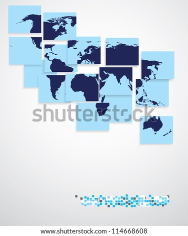 World map in squares, business background