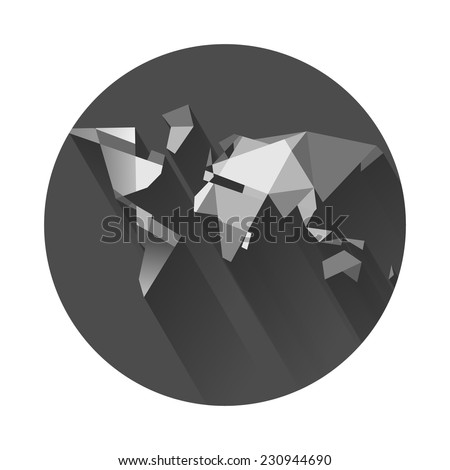 world map in the circle. not a globe - stock vector