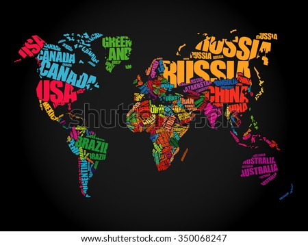 World map words stock images royalty free images vectors world map in typography word cloud concept names of countries gumiabroncs Image collections
