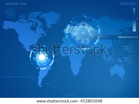 """World map in view of the robot.(eps10) Map generated using open-source free data obtained from """"Natural Earth""""  - stock vector"""