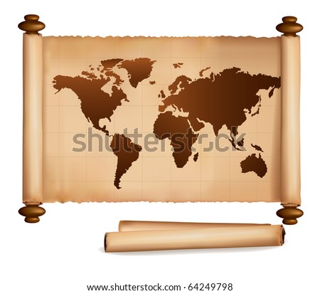 World map in vintage pattern and old papers. Vector.