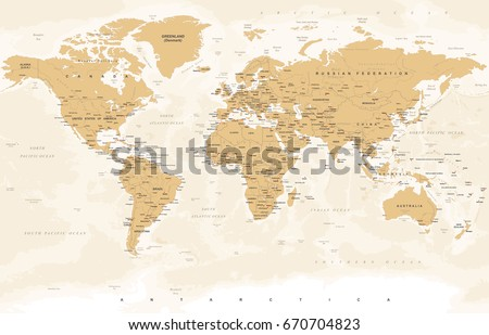 World map vintage style high detailed stock vector 670704823 world map in vintage style high detailed worldmap illustration gumiabroncs Gallery