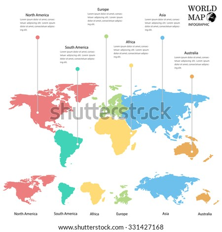 World map info graphics. - stock vector