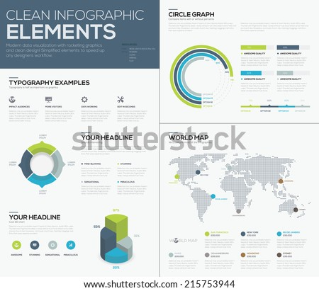 World map infographcis and clean design business vector elements - stock vector