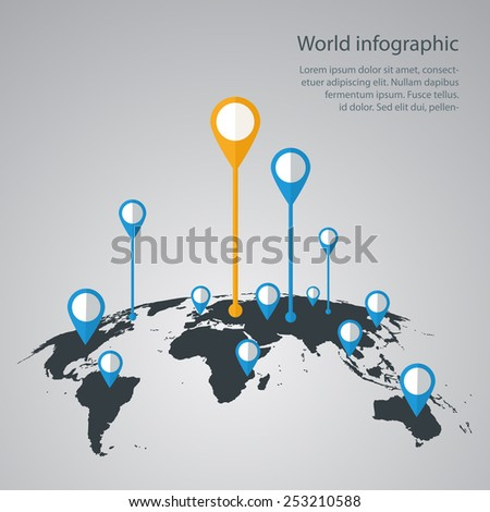 World map infographic vectores en stock 255559633 shutterstock world map infographic infographics vector earth design gumiabroncs Gallery