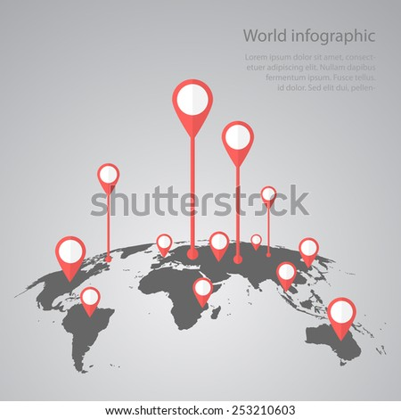World map infographic infographics vector earth stock vector world map infographic infographics vector earth design gumiabroncs Gallery