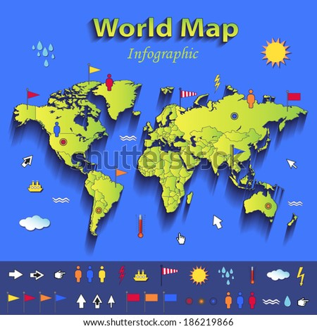 World map infographic political map blue stock vector 186219866 world map infographic political map blue green card paper 3d vector individual states gumiabroncs Images