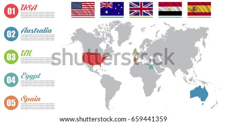 World map infographic slide presentation usa stock vector world map infographic slide presentation usa australia uk egypt spain gumiabroncs Choice Image