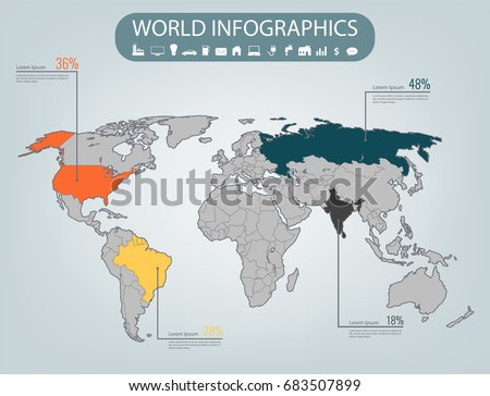 World map infographic template all countries stock vector world map infographic template all countries are selectable vector gumiabroncs Choice Image