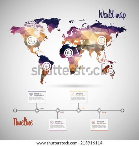 World map infographic template showing the demographic areas with proportionate percentages of statistics and modern timeline design template - stock vector