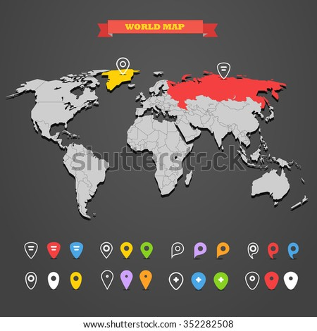 World map infographic template with different markers. All countries are selectable - stock vector