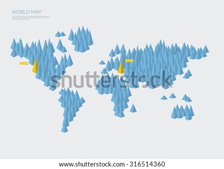 World map infographic triangles. Vector illustration - stock vector