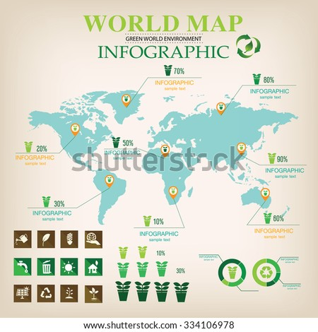 World Map Infographic vector. - stock vector