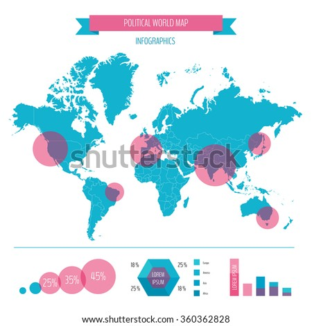 World map infographic. Vector illustration. - stock vector